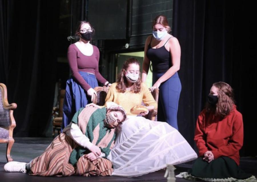 Little Women cast members Ellie Bogaczyk, Morgan Limbach, Chloe Diamond, Katrina Liberman and Kaet Sisney don masks as they rehearse for the musical.