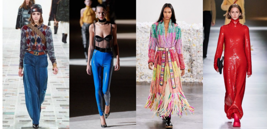 Four+women+model+the+fashion+trends+for+fall+of+2020+on+the+runway.+