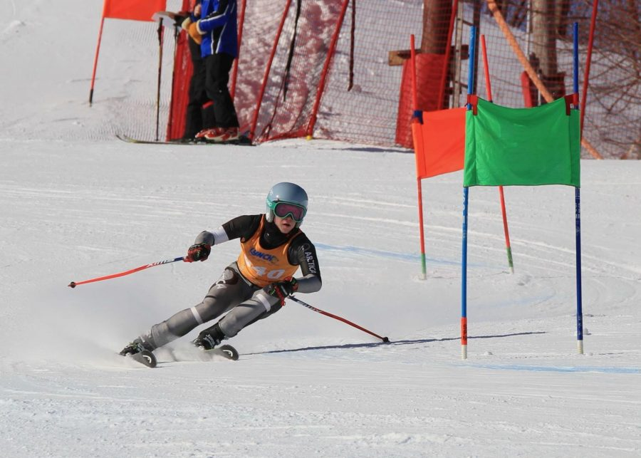 Willy Doerr races down the slopes.