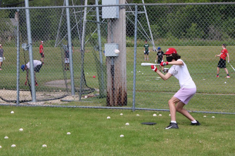 Boys baseball practiced socially distant in the summer of 2020.
