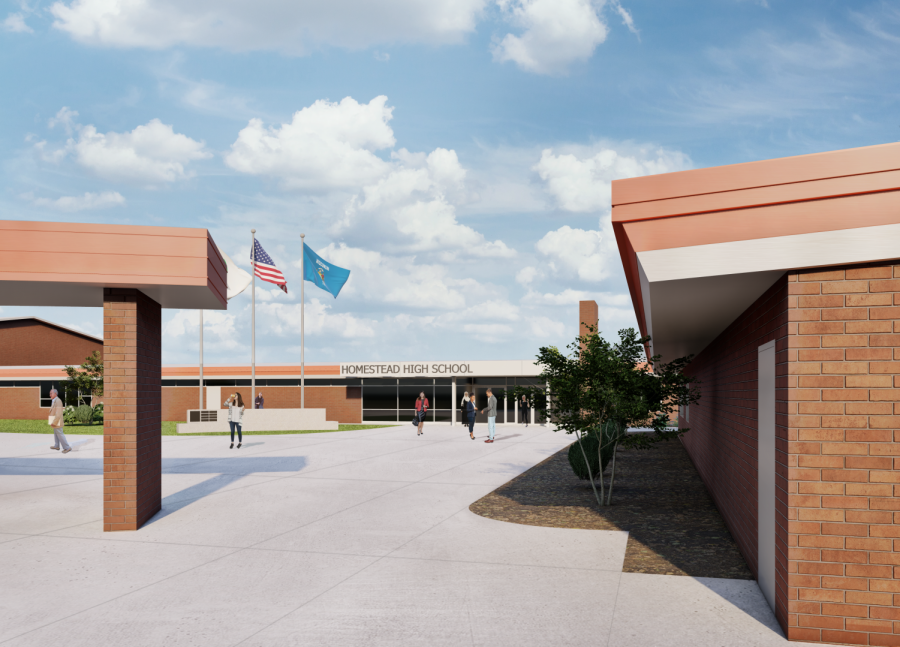 This rendering shows plans for Homestead's new entryway that is set to be completed in August 2021.